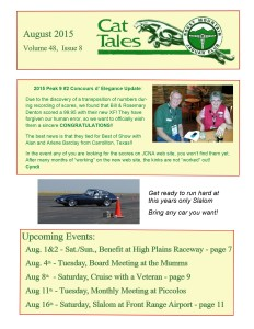 August 2015 Cat Tales, Rocky Mountain Jaguar Club
