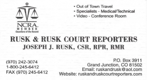Rusk and Rusk court reporters, Rocky Mountain Jaguar Club